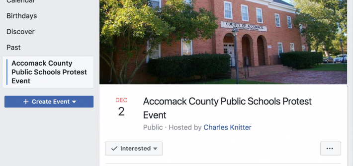 Screenshot of Facebook Event for Accomack County Protest